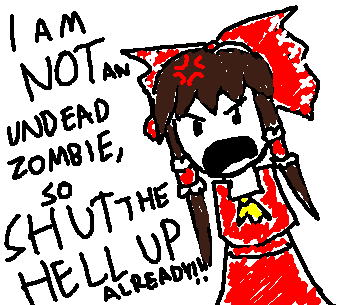 No Reimu does not like being called a zombie